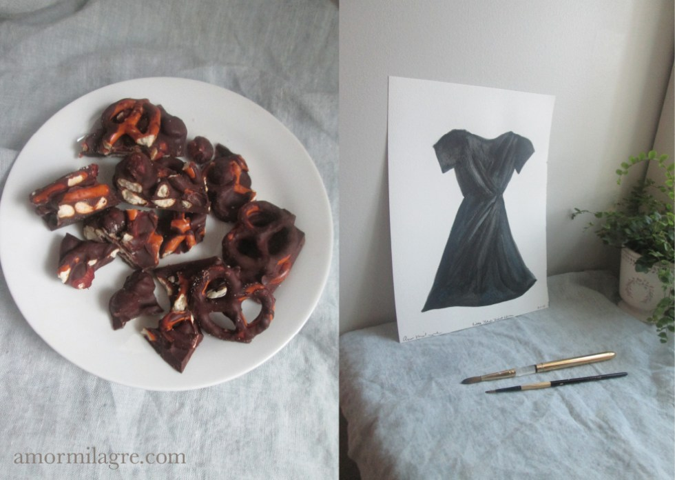 Little Black Dress Recipe and Photography by amormilagre.com Organic Recipes, Vegan, Healthy. Artwork, Stationery, Organic Apparel, and Custom Gifts. Chocolate covered pretzels and hazelnuts, organic cacao Valentine's Day Recipes, Fashion Illustration Black Dress Watercolor painting, prints, stationery and original artwork. Green amethyst healing powers necklace, pink velvet ballet slipper flat shoes with satin laces.