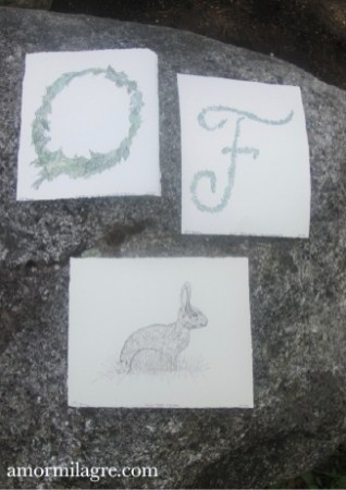 Illustrated Garden Alphabet Letter O F Bunny Rabbit Watercolor Painting Amor Milagre