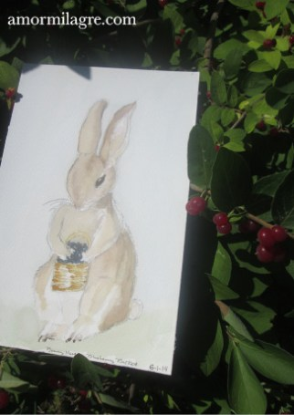 Bunny Rabbit with Blueberry Basket 2 Watercolor Painting Amor Milagre amormilagre.com