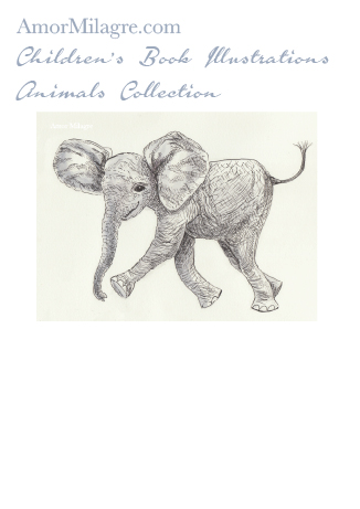 Amor Milagre Children's Book Animals Illustrations The Happy Elephant beautiful for all spaces and ages, especially in a nursery amormilagre.com