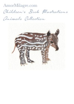Amor Milagre Children's Book Animals Illustrations The Tapir Custom Pet Portrait beautiful for all spaces and ages, especially in a nursery amormilagre.com