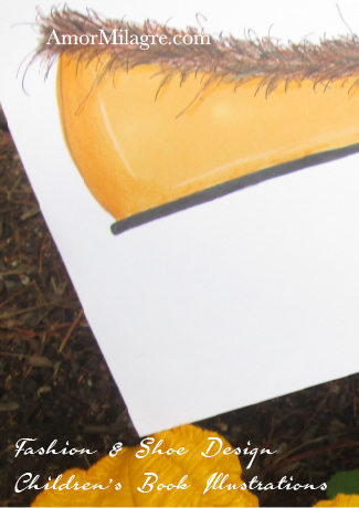Amor Milagre Fashion & Shoe Design Children's Book Illustrations Apricot Yellow Faux Fur Lined Flat Shoe Design detail 2 amormilagre.com
