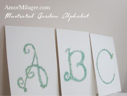 Amor Milagre Illustrated Garden Alphabet Letter ABC amormilagre.com