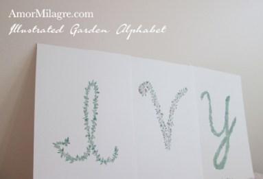 Amor Milagre Illustrated Garden Alphabet Letter IVY Tiger amormilagre.com
