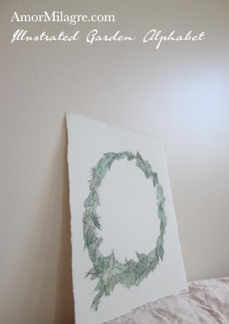 Amor Milagre Illustrated Garden Alphabet Letter O Green Leaf custom initials name word amormilagre.com