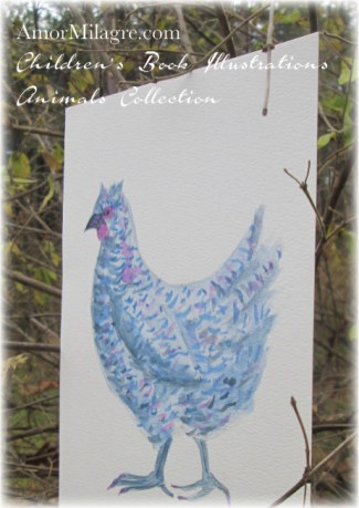 Amor Milagre Watercolor The Blue Chicken Hen The Shop at Dove Cottage Children's Book Illustrations beautiful for all spaces and ages, especially in a nursery amormilagre.com