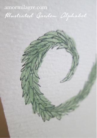 Illustrated Garden Alphabet Letter F Green Leaf Details Amor Milagre amormilagre.com