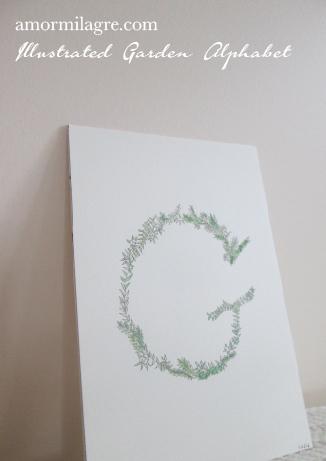 Illustrated Garden Alphabet Letter G Amor Milagre amormilagre.com