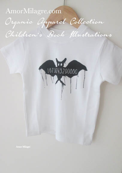 Amor Milagre Black Vampire Number Bat 1 Halloween Organic Cotton Toddler Graphic Tee Shirt Collection Children's Book Unisex amormilagre.com baby