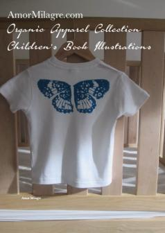 Amor Milagre Blue Butterfly Wings 1 Organic Cotton Toddler Graphic Tee Shirt Collection Children's Book Unisex amormilagre.com