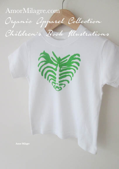 Amor Milagre Green Rib Heart Halloween Organic Cotton Toddler Graphic Tee Shirt Collection Children's Book Unisex amormilagre.com baby