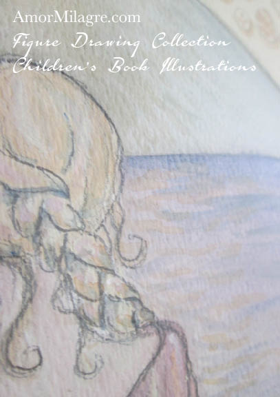 Amor Milagre Mermaid Woman Meditating on the Ocean 1 Nude Figure Drawing Collection amormilagre.com and appears in our upcoming children's book about appreciating your own beautiful body.