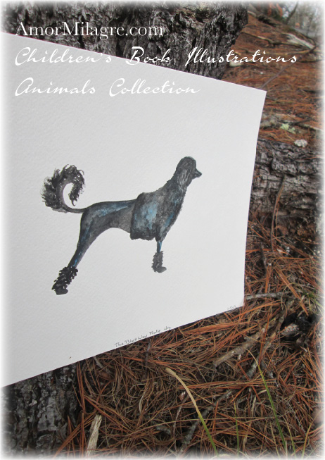 Amor Milagre Watercolor Black Poodle Dog The Shop at Dove Cottage Children's Book Illustrations beautiful for all spaces and ages, especially in a nursery amormilagre.com