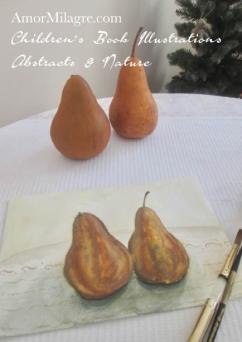 Amor Milagre A Pair of Pears organic brown Bosc fruit still life Paintings Watercolor Abstract The Shop at Dove Cottage Children's Book Illustrations beautiful all spaces ages, nursery amormilagre.com 1