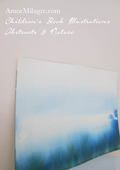 Amor Milagre Blue Trees Woods Color Nature Paintings Watercolor Abstract The Shop at Dove Cottage Children's Book Illustrations beautiful for all spaces ages, nursery amormilagre.com