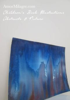 Amor Milagre Fire and Ice Blue Color Nature Paintings Watercolor Abstract The Shop at Dove Cottage Children's Book Illustrations beautiful for all spaces ages, nursery amormilagre.com