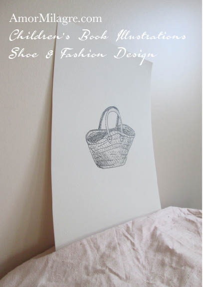 Amor Milagre French Market Bag Basket Shoe and Fashion Design Ink Drawing The Shop at Dove Cottage Children's Book Illustrations beautiful all spaces ages, nursery wardrobe amormilagre.com.jpg