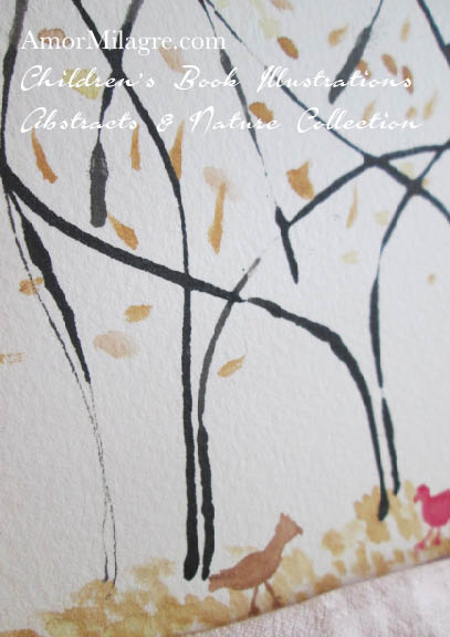Amor Milagre Golden Trees 1 Autumn Fall Pasture Chickens Abstract Watercolor The Shop at Dove Cottage Children's Book Illustrations beautiful all spaces ages, nursery amormilagre.com