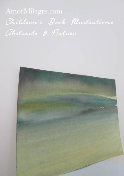 Amor Milagre Green Sea Green Color Nature Paintings Watercolor Abstract The Shop at Dove Cottage Children's Book Illustrations beautiful for all spaces ages, nursery amormilagre.com