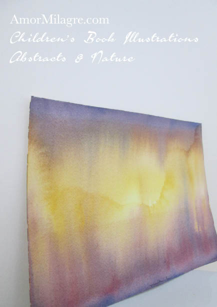 Amor Milagre Mountain Sun Golden Yellow Purple Color Nature Paintings Watercolor Abstract The Shop at Dove Cottage Children's Book Illustrations beautiful for all spaces ages, nursery amormilagre.com