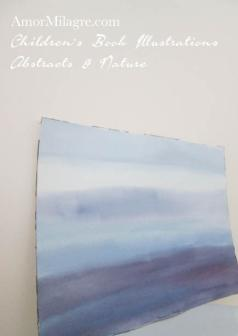 Amor Milagre Peaceful Mist Purple Blue Color Nature Paintings Watercolor Abstract The Shop at Dove Cottage Children's Book Illustrations beautiful for all spaces ages, nursery amormilagre.com