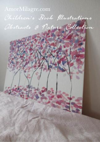 Amor Milagre Purple Trees Autumn Fall Abstract Watercolor The Shop at Dove Cottage Children's Book Illustrations beautiful for all spaces and ages, especially in a nursery amormilagre.com