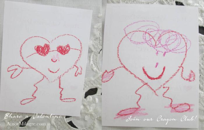 Amor Milagre Share a Valentine 10 Crayon Club baby children kids charity love family elderly chidlren's homes, Art & Design amormilagre.com
