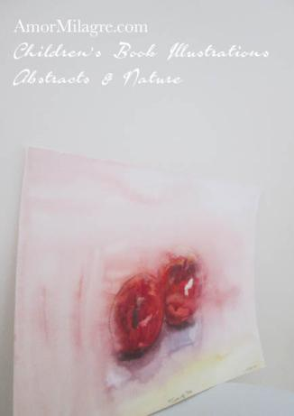 Amor Milagre Two of Us red apples still life Color Nature Paintings Watercolor Abstract The Shop at Dove Cottage Children's Book Illustrations beautiful for all spaces ages, nursery amormilagre.com