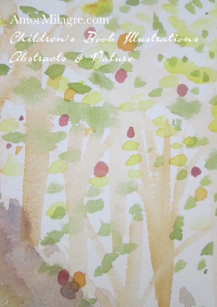 Amor Milagre Walk in the Apple Orchard Trees Color Nature Paintings Watercolor Abstract The Shop at Dove Cottage Children's Book Illustrations beautiful spaces ages, nursery amormilagre.com 1