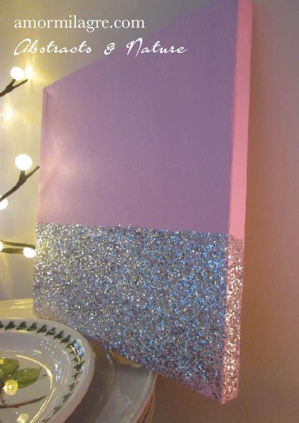 Amor Milagre Baby Pink Silver Glitter Nursery Painting 1 Baby & Child original artwork amormilagre.com