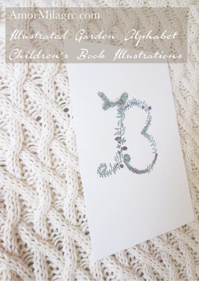 Amor Milagre Illustrated Garden Alphabet Letter B Pink Flowers amormilagre.com