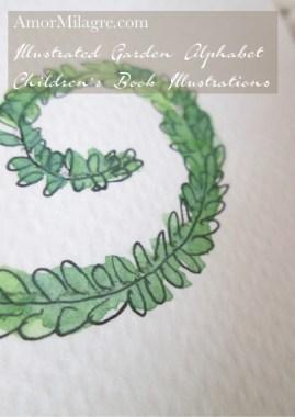 Amor Milagre Illustrated Garden Alphabet Letter R green leaf 2 amormilagre.com