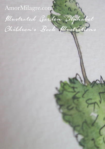 Amor Milagre Illustrated Garden Alphabet Letter i lowercase topiary 1 candle flame amormilagre.com