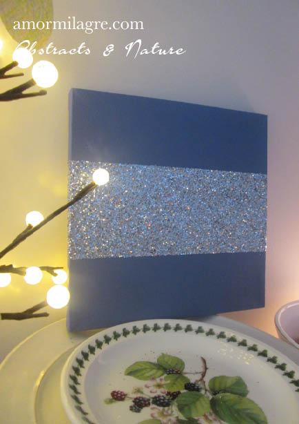 Amor Milagre Periwinkle Lavender Slate Blue Silver Glitter Nursery Painting 1 Baby & Child original artwork amormilagre.com