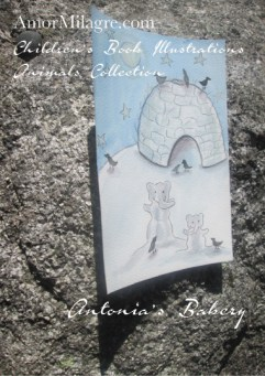 Amor Milagre Snow Elephants Igloo Antonia's Bakery Children's Book Illustration Watercolor The Shop at Dove Cottage Children's nursery original artwork art prints Ethical amormilagre.com