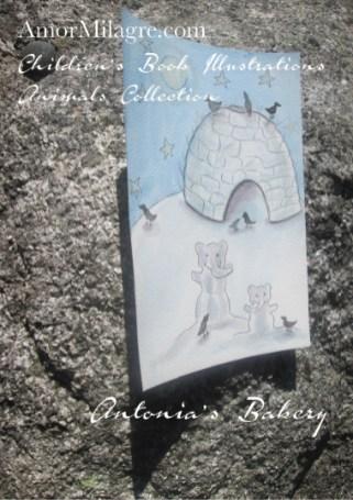 Amor Milagre Snow Elephants Igloo Antonia's Bakery Children's Book Illustration Watercolor The Shop at Dove Cottage Children's nursery original artwork art prints Ethical amormilagre.com
