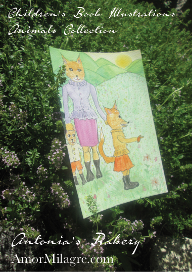 Amor Milagre Isla Fox & Cubs Children Organic Home garden Antonia's Bakery Ethical Children's Book Illustration The Shop at Dove Cottage Children's nursery artwork amormilagre.com