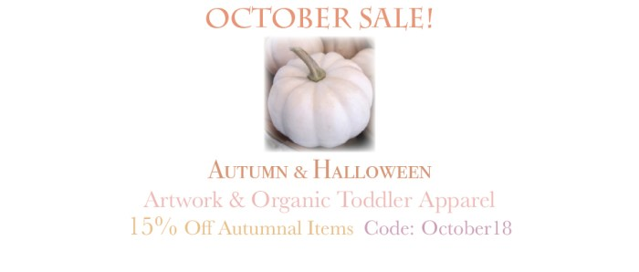 Amor Milagre October Autumn Halloween 2018 The Shop at Dove Cottage Sale Baby & Child Collection Art Design Books Organic Apparel Organic Cotton Toddler Tees Nursery Watercolor Paintings amormilagre.com