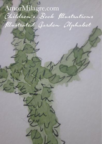 Amor Milagre Illustrated Garden Alphabet Letter A Green Leaf Christmas Winter Watercolor Original Painting Art Print Stationery Cottage Baby & Child Nursery illustration artwork amormilagre.com