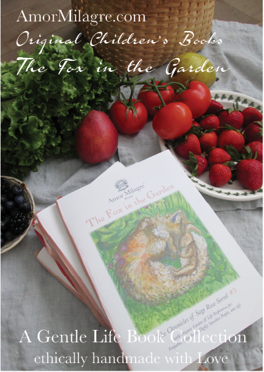 Amor Milagre Presents The Fox in the Garden ethical organic original children's book amormilagre.com nursery bookshop bunny vegetables vegan