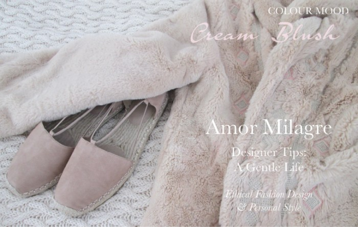 Amor Milagre Spring Fashion Personal Style 2019 Cream Blush Pink teddy coat espadrilles colour mood Ethical Handmade Gift Shop Art Apparel Organic Vegan Women's design amormilagre.com