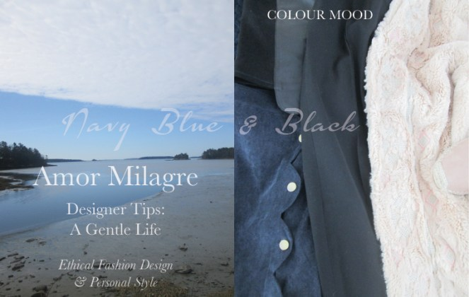 Amor Milagre Spring Fashion Personal Style 2019 navy Blue & classic black ocean colour mood Ethical Handmade Gift Shop Art Apparel Organic Vegan Women's design amormilagre.com