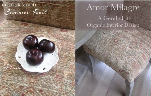 Amor Milagre Summer Fruit Plum Colour Mood Organic Home & Garden 2019 Upholstered Chairs Tapestry Ethical Handmade Gift Shop Art Apparel Organic Vegan Baby & Child design amormilagre.com