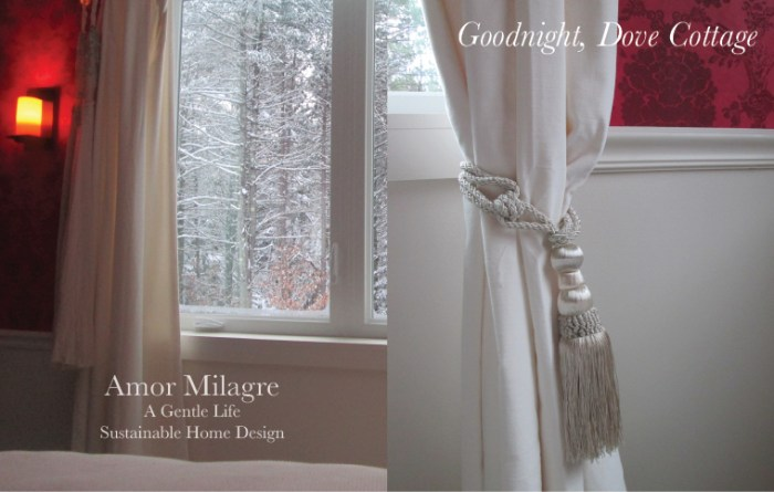 Amor Milagre Custom Built Home Interior Design Moments Goodnight, Dove Cottage 2019 Ethical Red wallpaper tassel velvet curtains amormilagre.com
