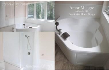 Amor Milagre Custom Built Home Interior Design Moments Goodnight, Dove Cottage 2019 Ethical ballet pink bathroom tub shower amormilagre.com