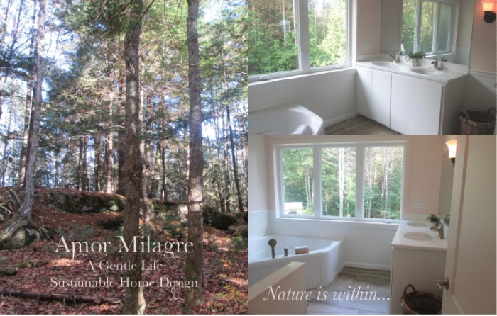 Amor Milagre Custom Built Home Interior Design Moments Goodnight, Dove Cottage 2019 Ethical ballet pink bathroom tub view woods amormilagre.com