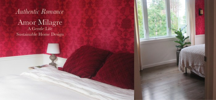 Amor Milagre Custom Built Home Interior Design Moments Goodnight, Dove Cottage 2019 Ethical red wallpaper bedroom boheme amormilagre.com