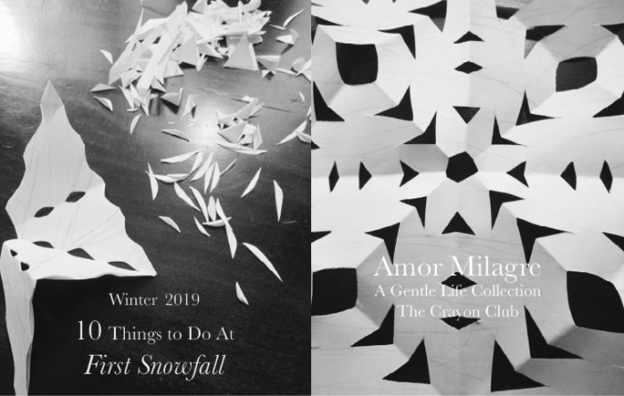 Amor Milagre 10 Things to Do at First Snowfall, Early Winter Holiday Traditions 2019 Ethical Organic Gift Shop Handmade Art Baby & Child Parent Family paper snowflakes art class amormilagre.com