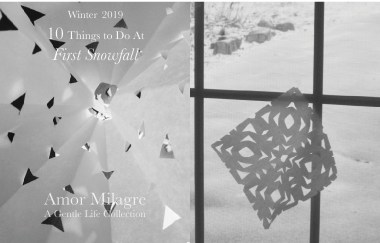 Amor Milagre 10 Things to Do at First Snowfall, Early Winter Holiday Traditions 2019 Ethical Organic Gift Shop Handmade Art Baby & Child Parent Family paper snowflakes kids window amormilagre.com