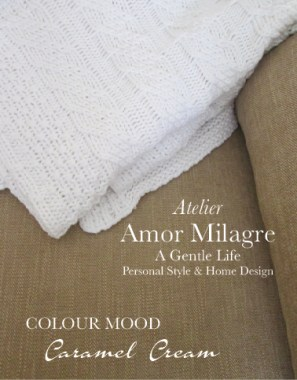 Amor Milagre Caramel Cream Colour Mood Home Fashion Personal Style Autumn 2019 Ethical Atelier Art Apparel white knit throw blanket tan english sofa couch interior design detail amormilagre.com